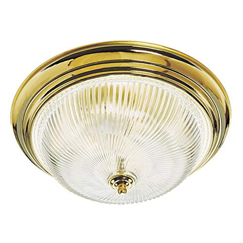 Design House 3-Light Polished Brass Ceiling Fixture with Clear Ribbed Glass