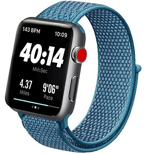ATUP コンパチブル Apple Watch バンド 42mm 38mm 44mm 40mm、ナイロンスポーツループバンド、交換用ナイロン アップルウォッチリストバンド iWatch Series 5/4/3/2/1ベルトに対応 (03 ケープブルー, 42mm/44mm)