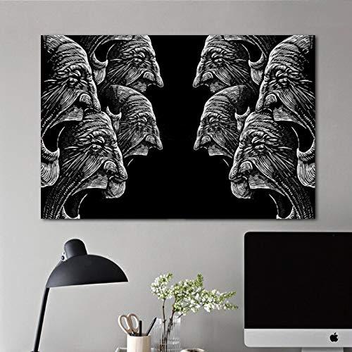 N / A Abstraktes Dämonenporträt Schwarzes Bildplakat Dekorieren Sie Druckgrafik für Wohnzimmerwandbild 40x60 cm ohne Rahmen