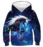 Fanient Teen Girls' Long Sleeve Sweatshirts 3D Print Galaxy Einhorn Pattern Pocket Pullover Hoodies 14-16Y