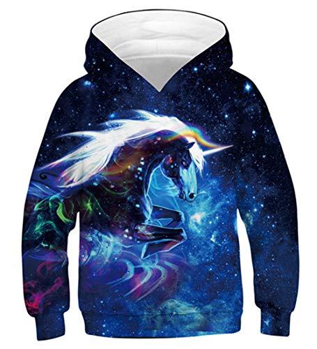 Fanient Teen Mädchens Langarm Sweatshirts 3D Drucken Galaxy Einhorn Muster Pocket Pullover Hoodies 14-16Y