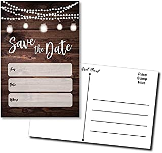 50 Save The Date Postcards Rustic - Wood and Lights - Fill in The Blank
