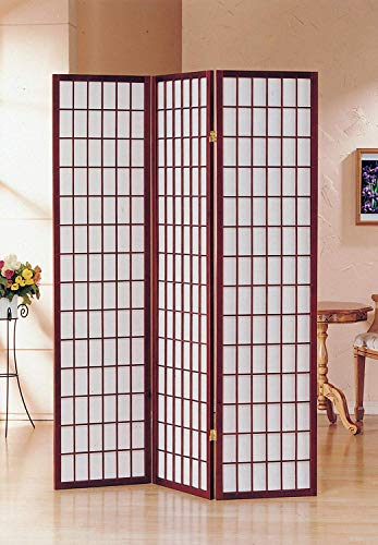 GTU Furniture Japanese Style 3 Panels Wood Shoji Room Divider Screen Oriental for Home/Office (Cherry)