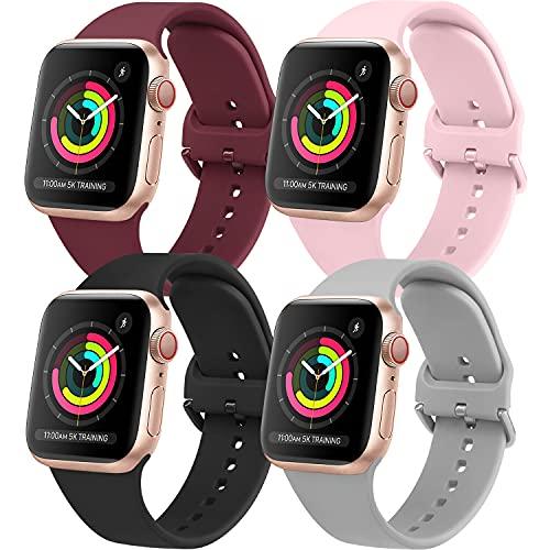 AOZZ 4-PEZZI Compatibile per Cinturino Apple Watch 40mm 38mm 42mm 44mm, Cinturini Sportivo per iWatch SE Series 6 5 4 3 2 1, Morbidi Silicone per Donne e Uomini (42MM/44MM S/M)