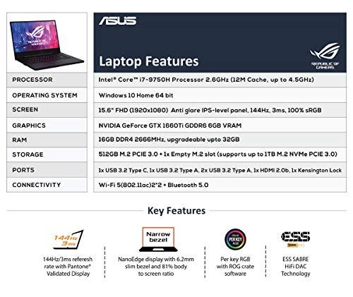 ASUS ROG Zephyrus M GU502GU-ES003T 15.6-inch FHD 144Hz Gaming Laptop (9th Gen Core i7-9750H/16GB RAM/512GB PCIe SSD/Windows 10/6GB NVIDIA GeForce GTX 1660 Ti Graphics/1.93 Kg), Black