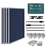 HQST 400 Watt 12 Volt Polycrystalline Solar Panel Kit with 30A PWM Charge Controller, Z Brackets, 20Ft 10AWG Connector Cables,LCD...