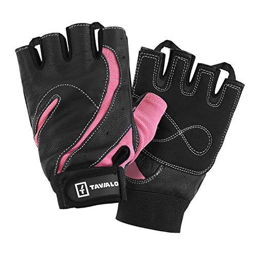 TAVIALO Guantes de Fitness para Mujer M (16-19 cm), Color Rosa/Negro, Respaldo...