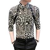 Camisa Estampada de Leopardo para Hombre Moda Slim Fit Streetwear Trend Camisas de Manga Tres Cuartos con Botones de Gran tamaño XXL
