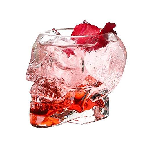 80ml Mini Bones Armor Warrior Skull Diseñado Copa de Vidrio con Cabeza de cráneo gótico para Vodka Whisky Cocktail Barware Chenhuanbakeyji (Color : 1PC)