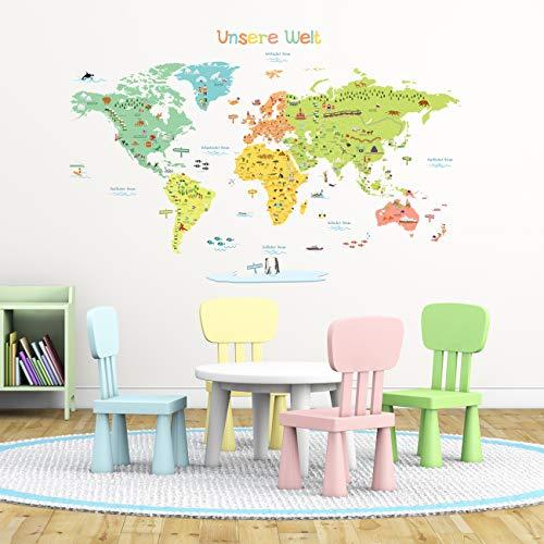 DECOWALL DLT-1616DE Farbenfrohe Bunt Weltkarte Wandtattoo Wandsticker Wandaufkleber Wanddeko für Wohnzimmer Schlafzimmer Kinderzimmer