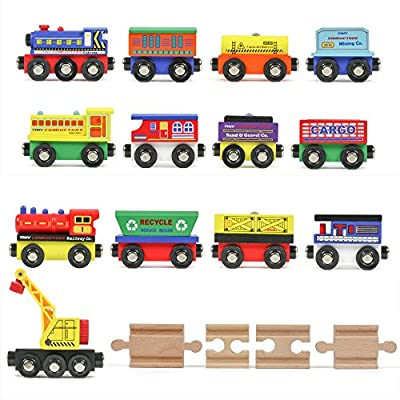 Tiny Conductors 12 Wooden Train Cars, 1 Bonus Crane, 4 Bonus Connectors, Locomotive Tank Engines and Wagons for Toy Train Tracks, Compatible with Thomas Wood Toy Railroad Set (Trains)