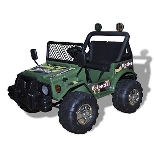 vidaXL Kinderauto Elektroauto Kinderfahrzeug Kinder Fahrzeug 2-Sitzer Armeegrün*