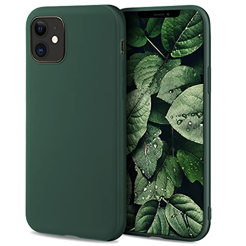 Moozy Minimalist Series Funda Silicona para iPhone 12, iPhone 12 Pro, Verde Oscuro con Acabado Mate, Cover Carcasa de TPU Suave y Fina