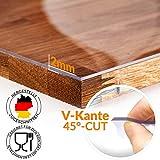 ANRO Tischfolie durchsichtig abwaschbar 2mm Transparent Tischdecke Weich PVC Folie abgeschrägte Kante V 45° 90x180cm Viele Größen (1000) - 5