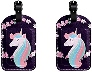 Unicorn FlowersLeather Luggage Tags Suitcase Labels Bag Travel ID Bag Tag, 1 Pcs