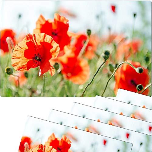matches21 Lot de 6 Sets de Table lavables Motif Coquelicots 43 x 28,5 cm