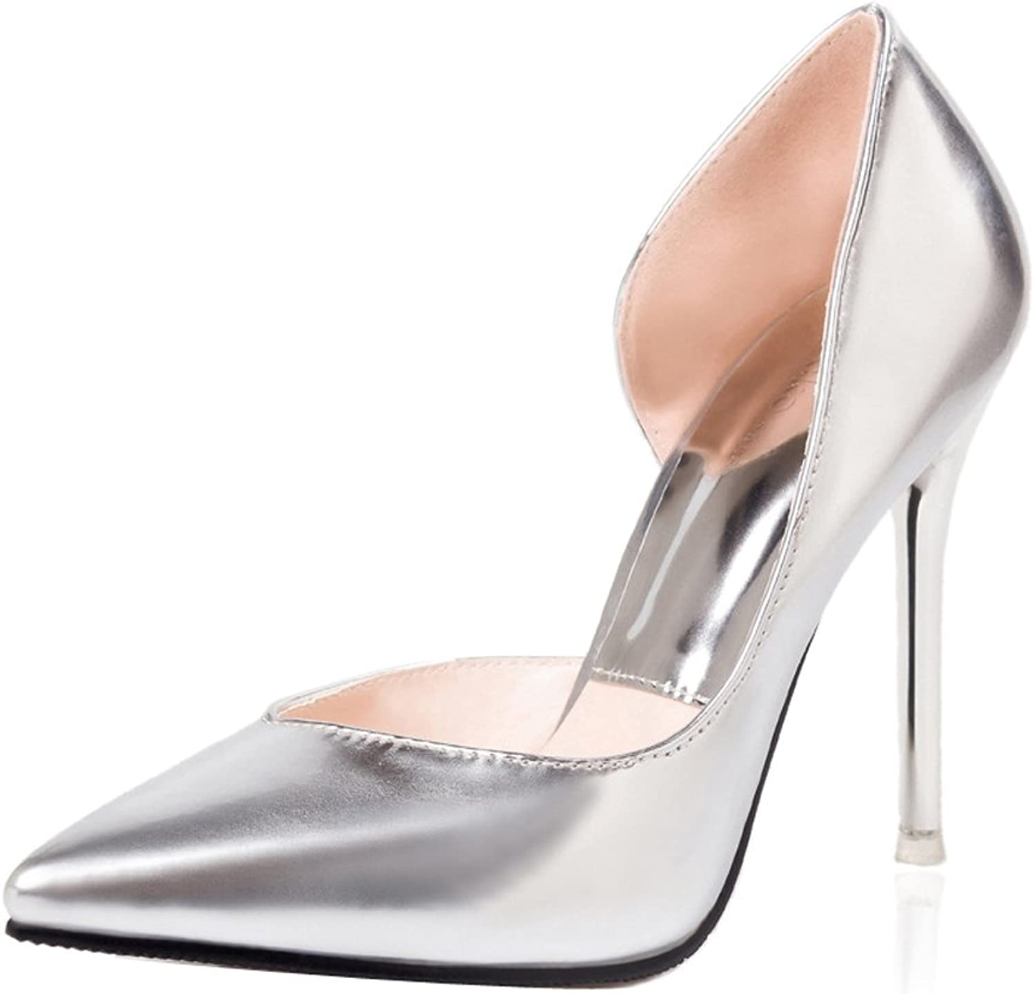 Ladola Womens Professional Pointed-Toe Light-Weight Spikes Stilettos Microfiber Pumps shoes