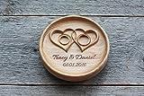 Cuscino anelli matrimonio Cuscino Fedi Portafedi Anello Portatore Personalizzato Nomi e Data Matrimonio rustico Cuscino per anello ' Cuori intrecciati ' , 'Twisted Hearts'