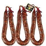 Chorizo Extra Picante Ezequiel - Lote 3 Chorizos Picante - Embutidos Ezequiel - Peso Aproximado Unidad 425 g - Chorizo Sin Gluten Sin Lactosa - Ahumado con leña de roble