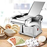 Dyrabrest Automatic Electric Pasta Maker Noodle Machine Stainless Steel Roller Cutter with 4 Blades Adjustable Thickness for Home Restaurant Dumpling Skin Spaghetti Fettuccini Lasagna