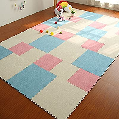 "yazi Fuzzy Area Rug Puzzle Play Mats Light Green Color, 12"" x 12"" x 0.43"""