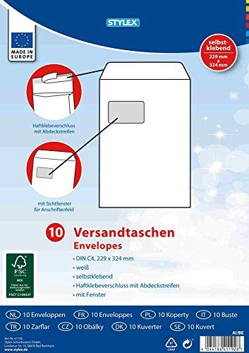 Preisvergleich Produktbild STYLEX 41192 Versandtaschen,  C4 mit Fenster,  haftklebend,  10 Stück,  weiß