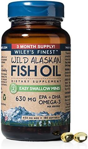 Wild Alaskan Omega-3 Fish Oil - Easy Swallow Minis 2X Double Strength 630mg EPA + DHA Natural Supplement 60 Mini Softgels