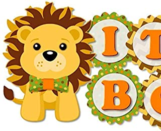 Orange Lion Baby Shower Banner with Bow Tie - IT'S A BOY! Garland Party Decoration - Handmade in USA