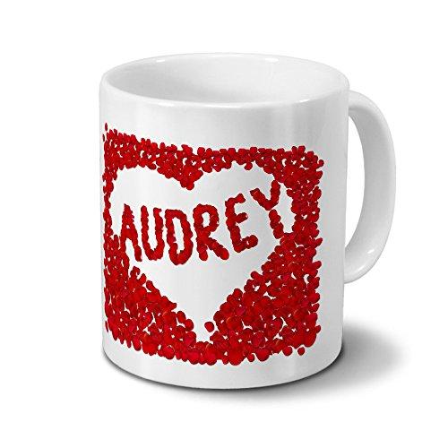 Tasse mit Namen Audrey - Motiv Rosenherz - Namenstasse, Kaffeebecher, Mug, Becher, Kaffeetasse - Farbe Weiß