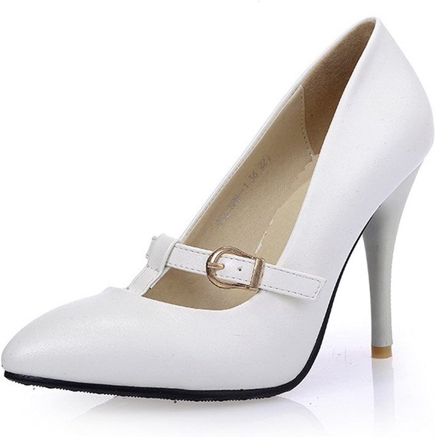 AmoonyFashion Women's Closed-Toe Pointed-Toe High-Heels Pumps-shoes with Winkle Pinker and Buckle