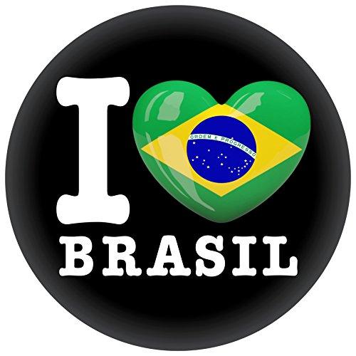 FanShirts4u Button/Badge/Pin - I Love BRASILIEN Fahne Flagge BRASIL BRAZIL (I Love Brasil)