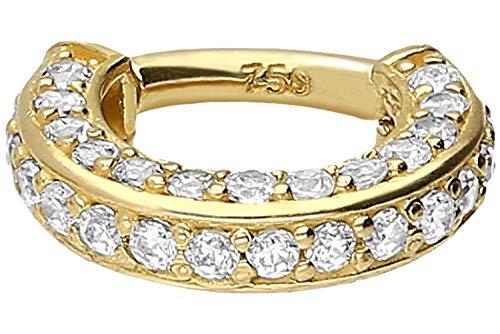 PIERCINGLINE 18 Karat Gold Segmentring Clicker | Piercing Ring Septum Helix Tragus | Farben & Größenauswahl | Kristallrand