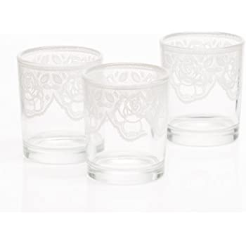 1-Clear Glass Votive Holder~With Lace Pattern~With FREE Unscented Votive Candle