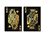 Queen and King of Hearts Gold Inspirational Wall Art Canvas Painting Picture Poster Prints Artwork Abstract Wall Decor for Home Bedroom Living Room Framed Ready to Hang 2 Piece