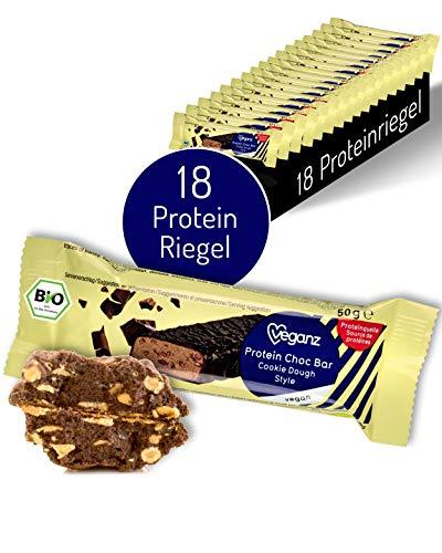 Veganz BIO Protein Choc Bar Cookie Dough Style - Eiweißriegel Vegan Proteinreich Cremiger Keksteig - 18 Vegane Proteinriegel je 50g