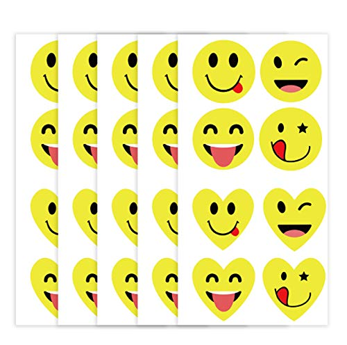Smiley Face Stickers 1.5 inch Happy Face Stickers for Teachers,Class,Reward,Notebooks,Envelope,Party 320pcs Christmas Valentine Labels