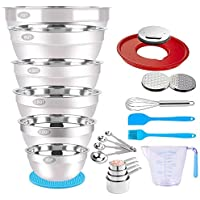 WEPSEN 23-Piece Stainless Steel Mixing Bowls Set with Lid, Graters, Measuring Cups, Spoons