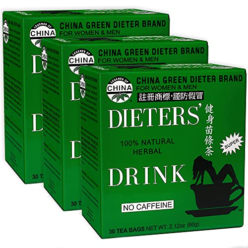 Uncle Lee's Dieters Detox Tea for Weight Loss and Belly Fat - Chinese Green Slim Tea With Senna Leaves - 100 Percent Natural No Caffeine - 30 Tea Bags, Pack of 3
