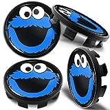 Biomar Labs® 4 x 68mm Tapas de Rueda de Centro Tapacubos Centrales Llantas Aluminio Compatible con BMW Part. No. 36136783536 Negro Azul Elmo Cookie Monster para Coche CB 41
