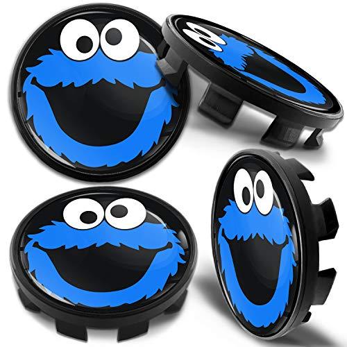 Biomar Labs 4 x 68mm Tapas de Rueda de Centro Tapacubos Centrales Llantas Aluminio Compatible con BMW Part. No. 36136783536 Negro Azul Elmo Cookie Monster para Coche CB 41