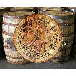 Whiskey Barrel Head Clock Always Happy Hour Bar Sign Home Decor Wall Art