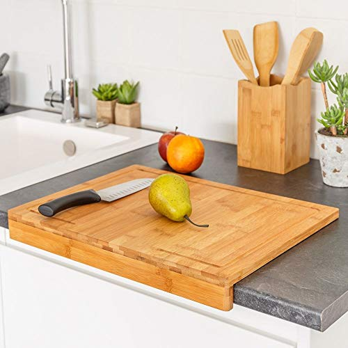 TIENDA EURASIA® Tablas de Cortar de Cocina - Tablas de Bambú para Preparar, Cortar y Trocear (Tabla Encimera 45x35 cm)