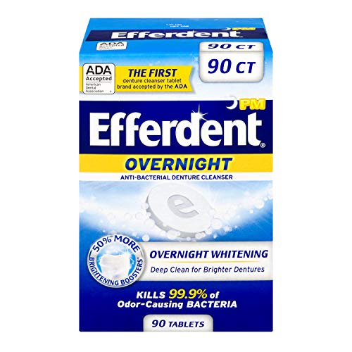 Efferdent PM Denture Cleanser Tablets, Overnight Whitening,...