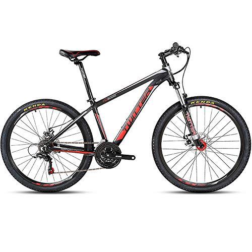 BQSWYD Mountain Bike per Adulto con Forcella Ammortizzata/Doppio Freno a Disco, 26 MT da 27,5 Pollici Full Suspension Mountain Bike con 21 velocità per Mountain Bike Fuoristrada,Rosso,27.5 * 15.5