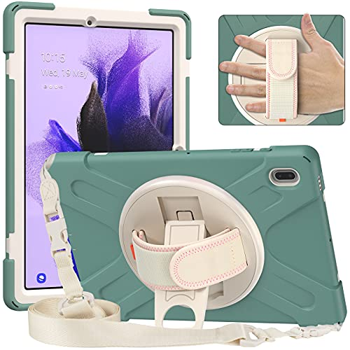 AdirMi Funda Anticaída para Samsung Galaxy Tab S7 FE 12.4 Inch 2021 (SM-T730/T735/T736B/T736N), Funda Duradera a Prueba de Golpes con Soporte Rotación, Correa de Mano y Correa para el Hombro,Green-2