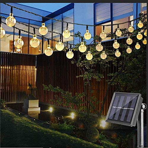 Solar String Lights Outdoor, 40 LED 25 Ft Crystal Balls Waterproof Globe Solar Powered Fairy String Lights for Bedroom Garden Yard Home Patio Wedding Party Holiday Decoration (Warm White)