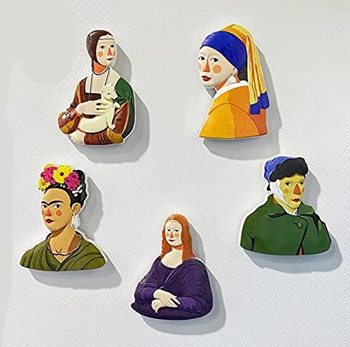 AKAMAS 5 imanes divertidos para nevera con diseño de dibujos animados y creativos y bonitos imanes magnéticos para nevera de resina tridimensional para decoración pequeña e interesante