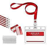 GIMARS 50Set Namensschilder mit Band Kartenhülle Ausweishalter Lanyard für Business, Ausstellung, Büro, Schule und Kinder (Rot)