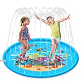 AUROKIA Splash Pad, Sprinkler for Kids 68'' Wading Pool Fun Outdoor Water Toy Backyard Water Play Mat with Fountain Gifts for Babies, Toddlers, Children