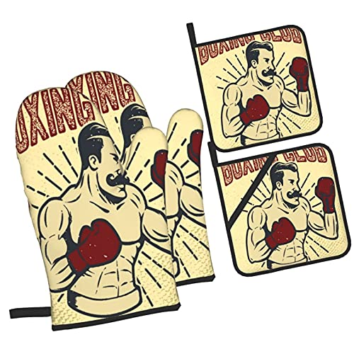 Boxeador de Estilo Vintage de Club de Boxeo en Grunge,4Pcs Guantes de Cocina y Juegos de Soportes para Macetas,con Caliente Almohadillas para Cocinar,Hornear,Asar a la Parrilla Guantes